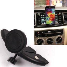 Wholesale-Car CD Slot Magnetic Attract Fixate Holder For Samsung Galaxy S6 S5 S4 G9200 GPS