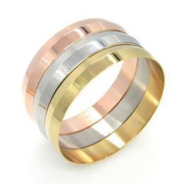 Best gift for wife Mother 3pcs lot 2.67'' 12mm Stainless steel High quality Women Lady Rose Gold & Gold & Silver Smooth Cuff Bracelet Bangle