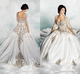 Wholesale Dar Sara New Wedding Dresses New A Line Scoop Half Sleeves Bridal Gowns Sheer Neck Silver Appliques Beads Crystals Dress Court Train