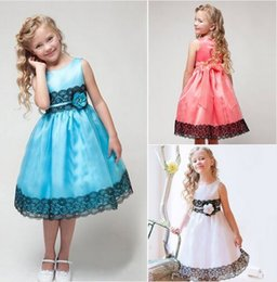 Wholesale 3 Colors Girls Sleeveless Silk Princess Party Dress Summer Baby Girl Lace Dresses With Bow Belt Children Kid Party Clothes CA119
