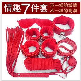 Fouets bouche gags en Ligne-7pcs BDSM Kit / Set Bondage pour Foreplay Restraint Kit PU esclaves poignet Menottes Collier Fouet Rope Blindfold Mouth Gag Ball jouets pour adultes Sex Toys