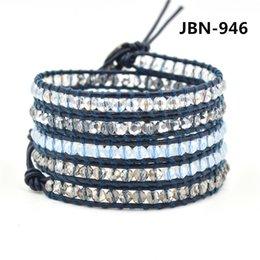 Wholesale new hot jewelry infinity charm bracelet leather wrap bracelet hand woven bracelet for women mm crystal beads designs JBN