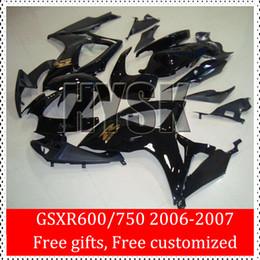 Gold Written 2006 2007 GSXR600 GSXR750 K6 Fairings 06 07 GSXR 600 GSXR 750 Of Suzuki Fairing kits GSX-R600 GSX-R750 Black Glossy Cowling