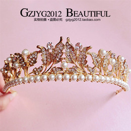 Wholesale The new vintage gold leaf crown princess hair diamond pearl headdress baroque bride wedding dress accessories