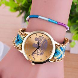 Wholesale Handmade Braided Elephant Friendship Bracelet Watch GENEVA Watches Women Watches best quality free ship gift for friend