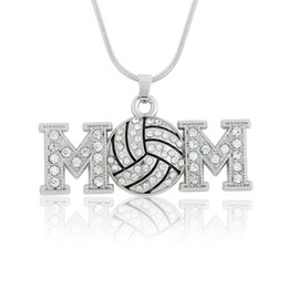 volleyball mom one sided crystal necklace