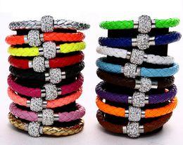 Cristales checo pulseras en Línea-ENVÍO LIBRE Brazalete magnético de las pulseras del corchete de la nueva de 16 colores MIC Shambhala armadura de la arcilla cristalina checa del cuero de la armadura