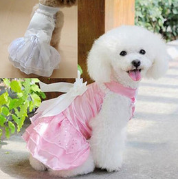 Wholesale Cute Dog wedding dress apparel dog clothes lace princess dress for Poodle Pomeranian Teddy Dog Dog Supplies Pet Supplies Size
