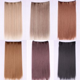 women's hair pieces 6 Color female synthetic hair extensions clip in extensions dark brown Long Straight braiding hair extension