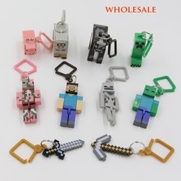 Wholesale new Compatible For Minecraft Key chain Toys For Home Decoration Micro World Hanger Keyring Clip Figures