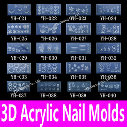 Wholesale-1piece 3d Acrylic Nail Template Acrylic Nail Carving Mold Nail Art Template in 139 Designs Pattern Decoration Silicon Gel Tools