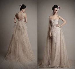 Wholesale Glamorous Two Pieces Detachable Neutral Nude Wedding Dresses Ersa Atelier Full Lace Pearls Mermaid Beach Wedding Bridal Gowns