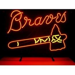 Wholesale MLB ATLANTA BRAVES HANDICRAFT NEON LIGHT BEER BAR PUB REAL GLASS TUBE SIGN x14 quot