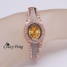 Geneva fashion luxury style Quartz watch women Wristwatches 18K rose gold filled crystal ladies Dropship Free Shipping