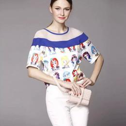 Wholesale Hot Sale PlusSize Women Summer girl face print Net Yarn Stitching Asymmetrical Short Sleeve shirt elegant sexy Blouse brand tops