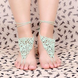 Wholesale Simple Elegant Crochet Anklets Chain Pure Cotton Knitted Fashion Brand Vintage Jewellery Jewelry For Women DFA020