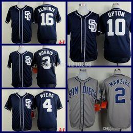 Promotion johnny maillots manziel 2015 Nouveaux Diego Padres San 10 Justin Upton Jersey Bleu New Derek Norris Wil Myers Abraham Almonte Accueil Gris Johnny Manziel Baseball Jersey