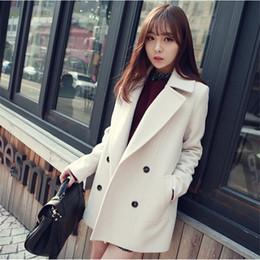 Wholesale-Winter Medium-Long White Light Blue Wool Coat Women's Peacoat Korean Fashion Double Breasted Plus Size Outwear Manteau Femme