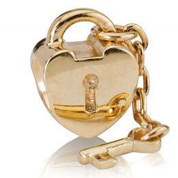 Corazón del oro de la pulsera 925 en Línea-Comercio al por mayor de bloqueo Corazón Gold Key Charm 925 encantos europeos de plata apta del grano DIY pulsera de cadena de la serpiente Mujer Joyería