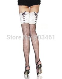 Women Sexy Thigh High Black Fishnet Thigh High with White Lace-up Top