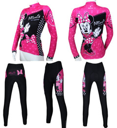 Wholesale new women cycling jersey long sleeve jersey and pants with gel pad clothing pink color Minnie Mouse printing lady and girl