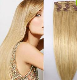 Descuento extensión del pelo humano clip de la cabeza llena 16