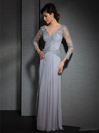 2019 New Graceful Scoop Lace Pleat Chiffon Party Gowns Vestido De Festa New Gray Elegant A-Line Floor-Length Long Sleeve Evening Dress 039