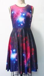 FG1509 New Fashion Summer Skater Dress Black Milk Galaxy Print Dresses For Girl Women Vestidos Bandage Backless Ladies female dress