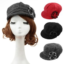 Wholesale-Autumn Women Hat 2015 New Fashion Women Beret Hat Flower Cabbie Cap Newsboy Hat Black Red Grey