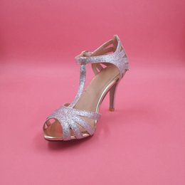 """Silver Glittery Wedding Shoes Handmade Pumps T-strap Leather Sole Comfortable Pumps Toe 4"""" Leather Wrapped Heels Women Sandals Dance Shoes"""