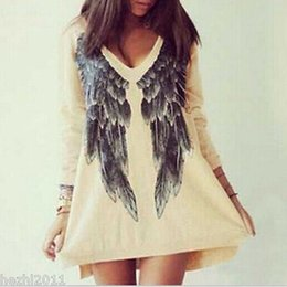 Wholesale-2015 Womens Angel Wings Printed Cotton Dress Loose Blouse Long Sleeve Top T-shirt