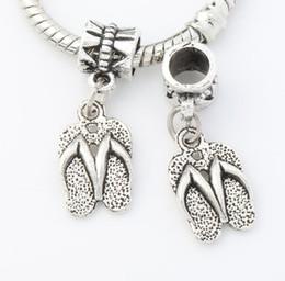Wholesale Antique Silver Slippers Flip Flops Big Hole Beads Dangle Fit European Charm Bracelets x32 mm B401