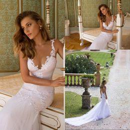 Wholesale Sweetheart Neckline Trumpet Wedding Dress - Backless Mermaid Wedding Dresses New Arrival Deep Sweetheart Neckline Spaghetti Strap Appliques Beach Julie Vino Wedding Gowns