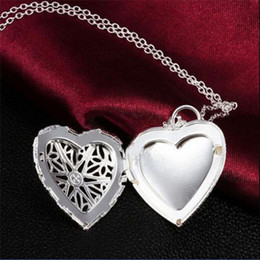 2015 fashion Brand New Vogue 925 Sterling Silver Necklace Pendant Love Heart Locket Chain fine jewelry free shipping