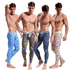Wholesale Men Thermal underwear long johns pant thermo clothing warm trousers Mens Cotton Pajama Bohemia Bottoms Bodysuit Keep Zentai Leggings Color