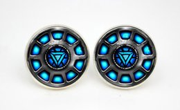 Wholesale 10pairs Iron Man Inspired Arc Reactor earrings Posts Glass photo earrings stud post