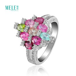 Wholesale Multicolored natural color tourmaline ring pure silver gemstone rings fashionable women