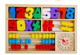 Cajas de madera relojes en Línea-Venta al por mayor de madera-Toy Box multifunción aprendizaje juguetes educativos de alarma ábaco de la caja de reloj digital de los juguetes juguete Montessori digitales