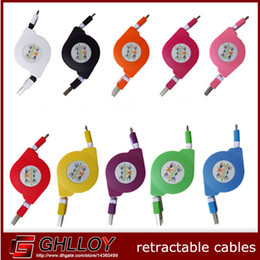 1M Retractable Extension Flat Cable Charging Sync Data Transmission USB Cable for Micro USB V8 Smartphone Mobile Phone Cellphone 100pcs up