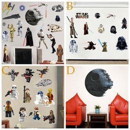 Wholesale PVC Death Star Wars Posters Adhesivos de pared para niños Baby Room lego Decorativos Decalques de pared Art Force Awaken Wallpaper Kids Decoración de Hogar