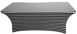 Wholesale 6ft Rectangle White Black Color Stripe Print Lycra Table Cloth With For Wedding Use