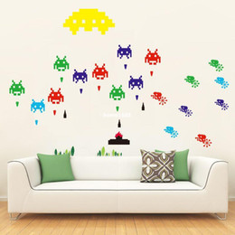 Canada Funlife Self-adhensive Peel et bâton amovible Autocollant Mural Mural Decal jeu Space Invaders Retro Jeu Vidéo bricolage Decal MS391001 supplier anime video games Offre