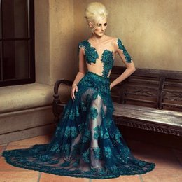 2017 Sexy Sheer Dark Teal Jewel Mermaid Prom Dresses lace Tulle Sequins Full Length Formal Evening Gowns Arabic Party Dress BA0537