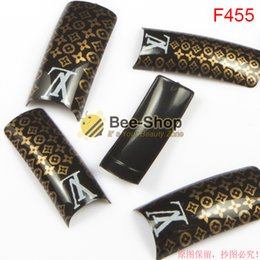 Wholesale 100pcs Super fashion L V art work pattern design half cover french nail art tips acrylic half false nails art fake nail tips F455