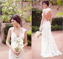 2019 Back Wedding Dress Cap Sleeve with V Neck Sheath Mermaid Lace Country Bridal Dresses Sweep Train Garden Vintage Bride Gowns Popular