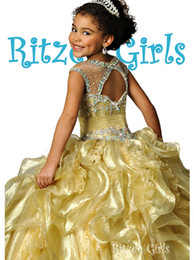 Princess Gold Girls Pageant Dresses Illusion Neck Cap Sleeves Crystal Organza Glitz Ritzee Girls Pageant Dresses For Juniors Open Back