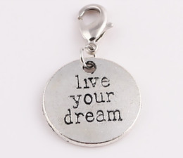 """Wholesale 20pcs lot """"live your dream"""" tag Floating Pendant Charms with Lobster clasp For Glass Magnetic Memory Locket Jewelry Making"""