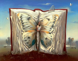Wholesale Salvador dali Paintings for sale butterfly in the book abstract art Home Decor High Quality Handmade