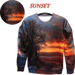Wholesale Raisevern Women Men Jesus sunset Pullovers space print galaxy sweatshirts hoodies sun tree sky beautiful d sweats top
