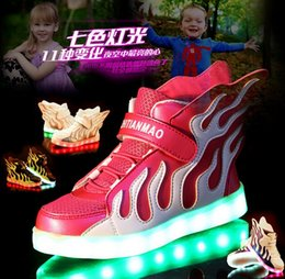 Wholesale 2016 wings USB charging children s shoes LED luminous male shoes colorful flashes baby spring casual shoes pair B1
